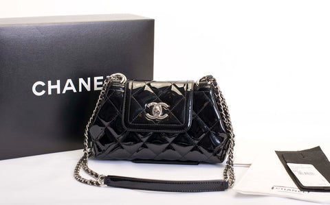 chanel quilted patent leather handbag crossbody