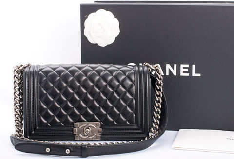Authentic CHANEL Medium Le Boy Bag Black Lambskin Ruthenium Hardware 2016