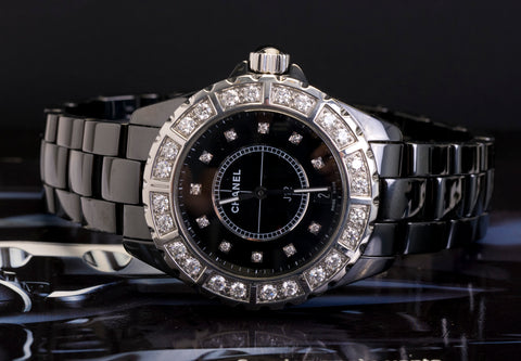 Chanel J12 Black Ceramic Diamond Watch  h2428