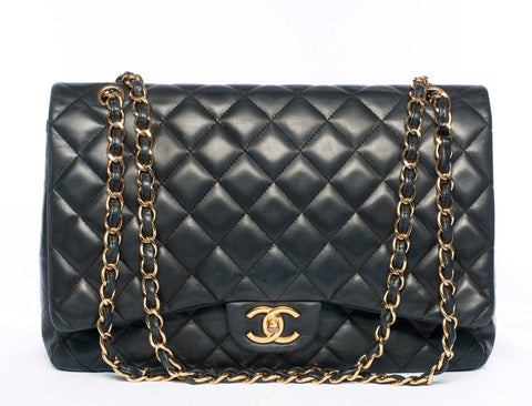 Authentic Quilted CHANEL Lambskin Maxi Double Flap Shoulder Bag