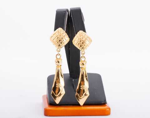 Authentic CHANEL Gold Plated Quilted Tie Dangle Earrings