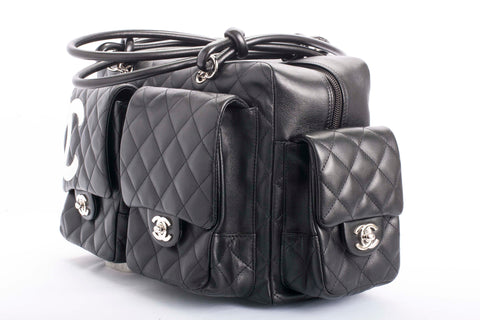 Auth Chanel Cambon Reporter Multi Pocket Quilted Leather Handbag with COA