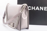 Authentic CHANEL Large Iridescent Lilac Le Glazed Leather BOY Shoulder Bag