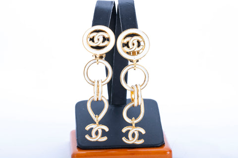 Authentic CHANEL Enamel CC Gold Plated Clip On Dangle Earrings