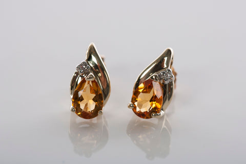 Lovely Ladies Citrine and Diamond Stud Earrings
