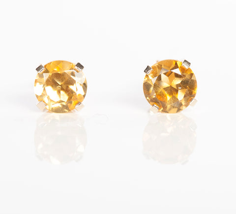 14k Yellow Gold Yellow Citrine Stud Earrings