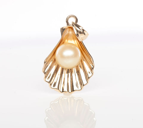 10K Gold Pearl in Shell Pendant