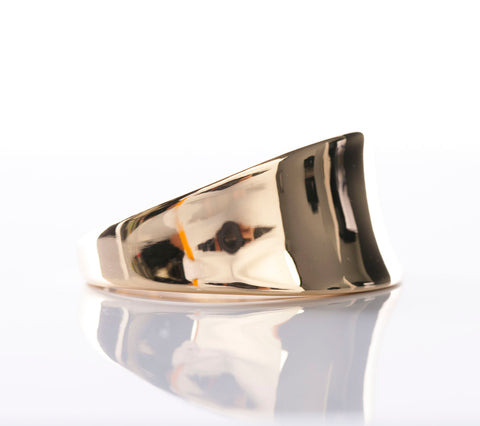 Trendy 18K Yellow Gold Concave Ring