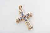 14k Yellow Gold Tanzanite and Cubic Zirconia Cross Pendant