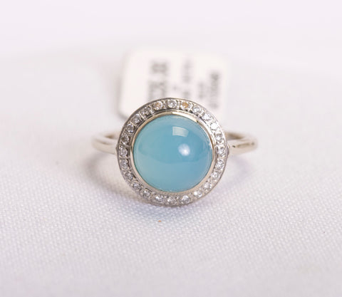 Blue Cabachon Chrysocolla Ring White Gold