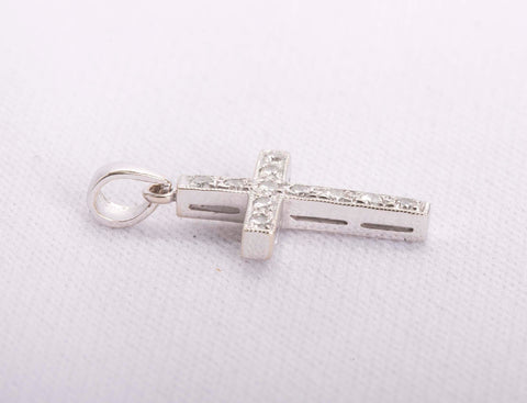 Gorgeous 18k White Gold Diamond Cross Pendant