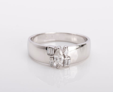 Ladies 14k White Gold Marquise Diamond Ring