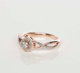 10K Rose Gold Diamond Halo Engagement Ring