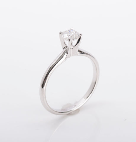 Engagement Ring Solitaire .58ct Round Brilliant 14k White Gold Size 7 Retail $1999