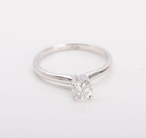 Engagement Ring Solitaire .58ct Round Brilliant 14k White Gold Size 7 Retail 99