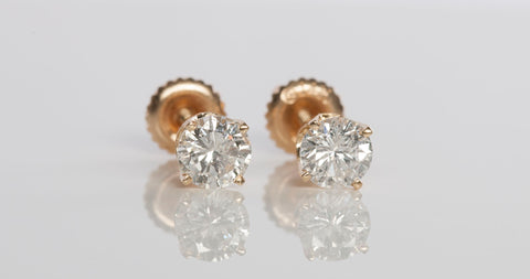 14k Yellow Gold 1.00 tcw Diamond Stud Earrings