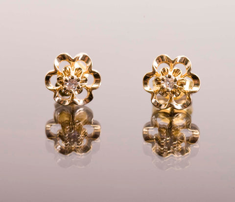 14 KT Yellow Gold .02 TCW Natural Diamond Floral Earrings