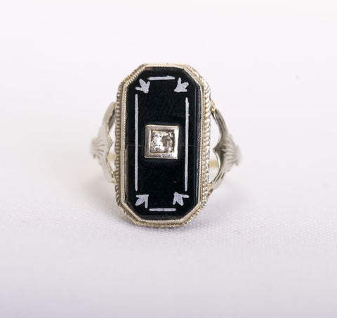 Edwardian Onyx/Diamond Ring
