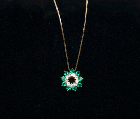 14K Yellow Gold Synthetic Emerald and Topaz Necklace