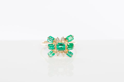 Stunning 14k Yellow Gold Emerald Cocktail Ring
