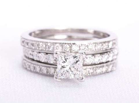 Diamond Engagement Ring 1.18 center cut square brilliant A.Jaffe Set