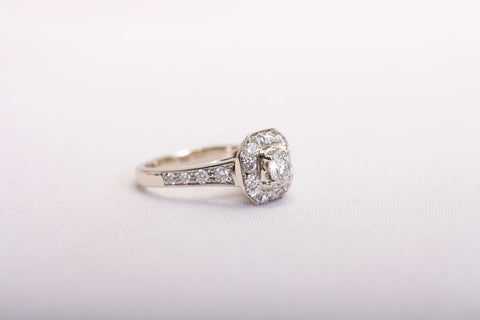 engagement ring diamond 14k white gold halo
