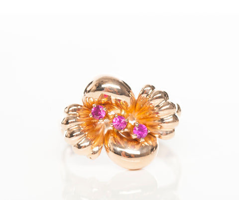 Ladies 14KR Flower Ruby Ring