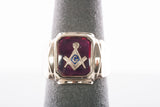 Vintage Mens 10k Yellow Gold Free Mason Ring Square Compass Symbol 12.1 grams