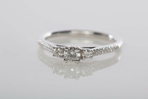 Gabriel & Co. 3-Stone Diamond Engagement Ring in 14K White Gold