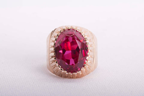 14k Rose Gold Red Russian Quartz Ring Size 7