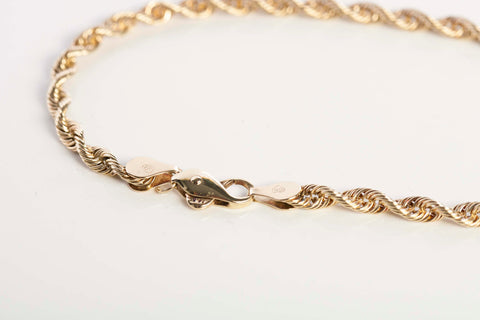 14K Gold Mens Rope Chain Bracelet