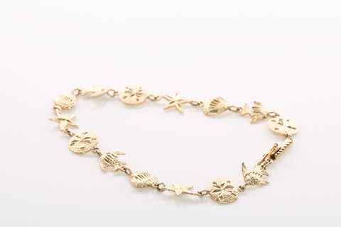 Beautiful 14KY Gold Sealife Bracelet!
