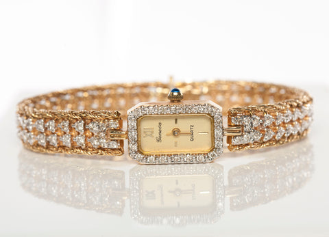 Ladies Geneve 14k Gold Diamond Bracelet Swiss Watch W/ 112 Diamonds- 22Grams