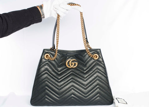Authentic GUCCI GG Marmont Matelassé Leather Chain Tote Shoulder Bag
