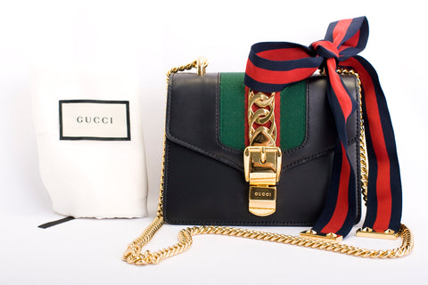 gucci sylvie handbag black leather