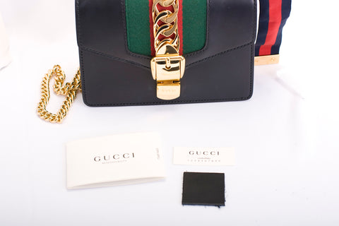 Gucci Sylvie Mini Leather Crossbody Bag Black and Gold