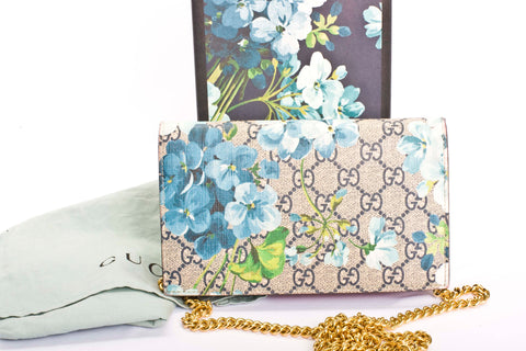 Auth. Gucci GG SUPREME Chain Wallet Bloom Print Shoulder Bag