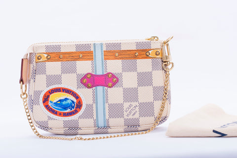 Authentic LOUIS VUITTON Damier Azur Hawaii Trunk Special Edition Pochette