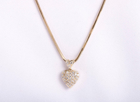 14k Yellow gold Diamond Heart Necklace 20""
