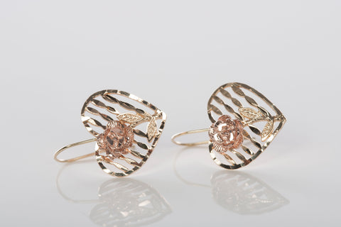 Dainty 10K Gold Heart and Rose Earrings