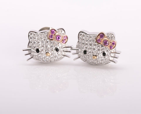 Kimora Lee Simmons 18k Diamond Hello Kitty Earrings