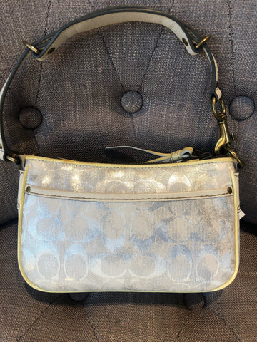 Authentic Coach Signature Demi Metallic-White Handbag
