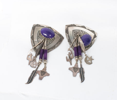Vintage Deborah West .925 Sterling Sterling Purple Stone Clip-On Earrings