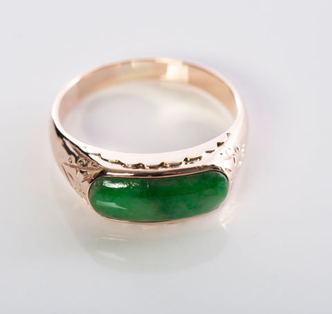 Unique 14k Rose Gold Jade Ring