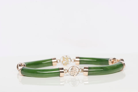 14K Yellow Gold and Jade Bracelet with Chinese Characters