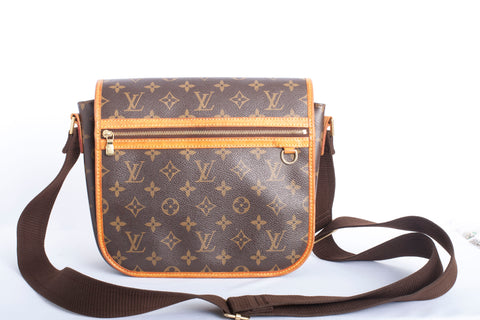 Authentic Louis Vuitton Shoulder Bosphore PM Brown Monogram Messenger Bag