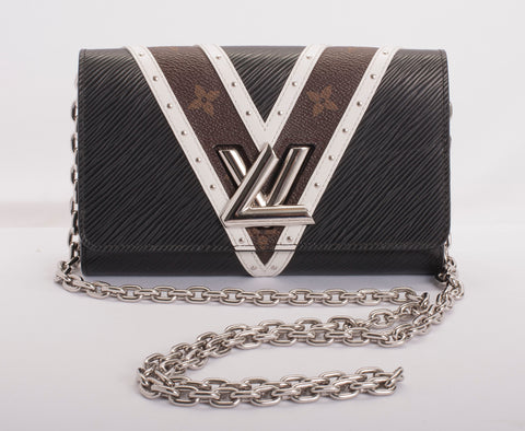 Auth Louis Vuitton Twist Chain Epi Leather Wallet w COA