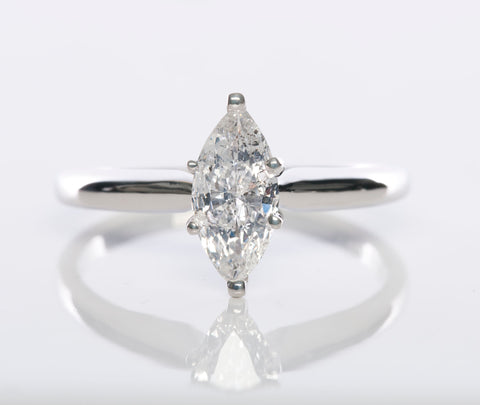 14k White Gold Marquise Solitaire Diamond Ring