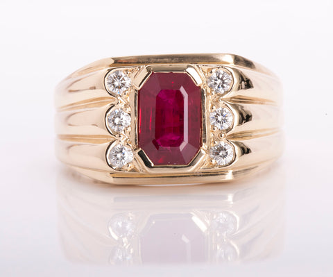Men's 14k Yellow Gold Ruby and Diamond Ring