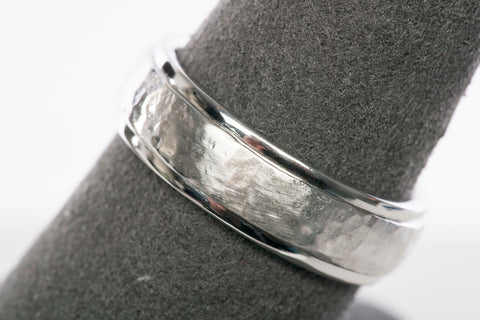 Mens 14K White Gold Hammered Band size 8.5